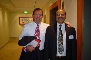 Zia Qureshi with the Prime Minister of Australia, The Hon. Tony Abbot